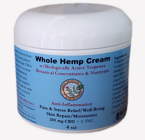 Hemp Plant Cream Anti-Inflammatory Skin Repair/Moisturizer labeled jar